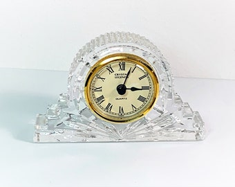 """Crystal Legends 24% Full Lead Crystal Mantle Clock, Beautifully Cut Deep Crystal Block, 6"""" W- 4"""" T- 1 1/4"""" D, Mint Condition."""