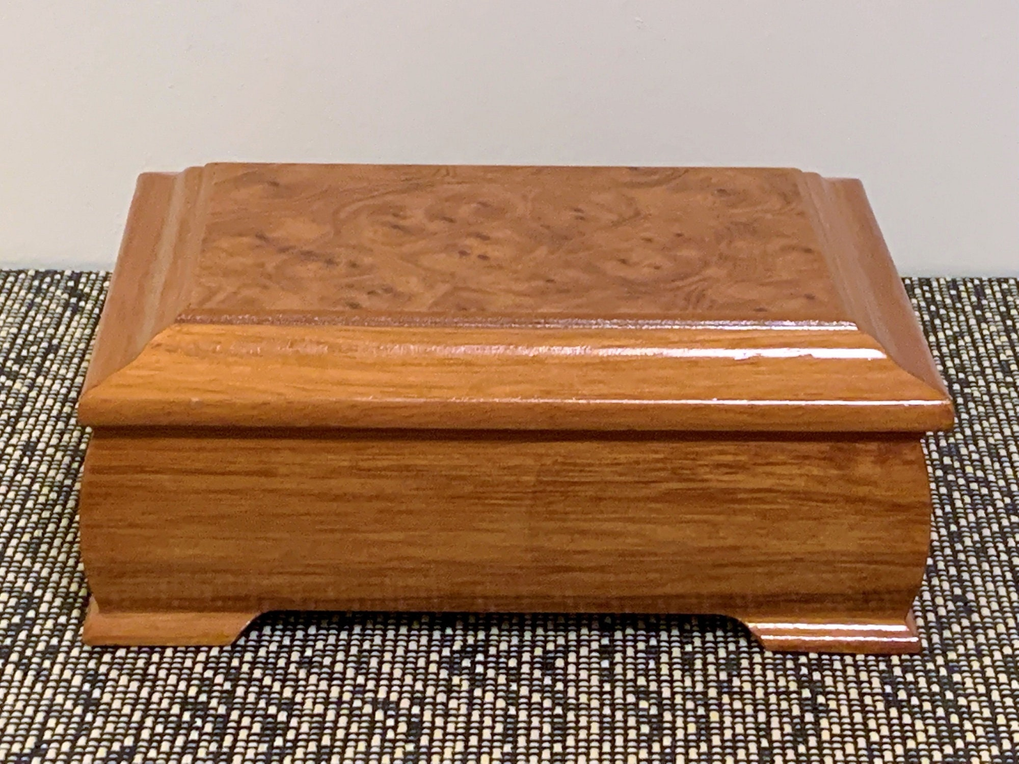 7e3f54440 Vintage Solid Wood Small Jewelry Box - Organizer, Formica Cherry Birch  Laminate finish, Padded Compartments, 8