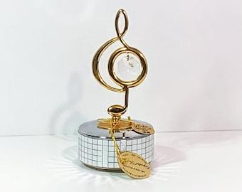 "MASCOT USA 24K Gold Plated Music Note Mirror Music Box W/Clear Swarovski™ Element. Plays 'Swan Lake'. 6"" T. 2.5"" W. Free US Shipping."