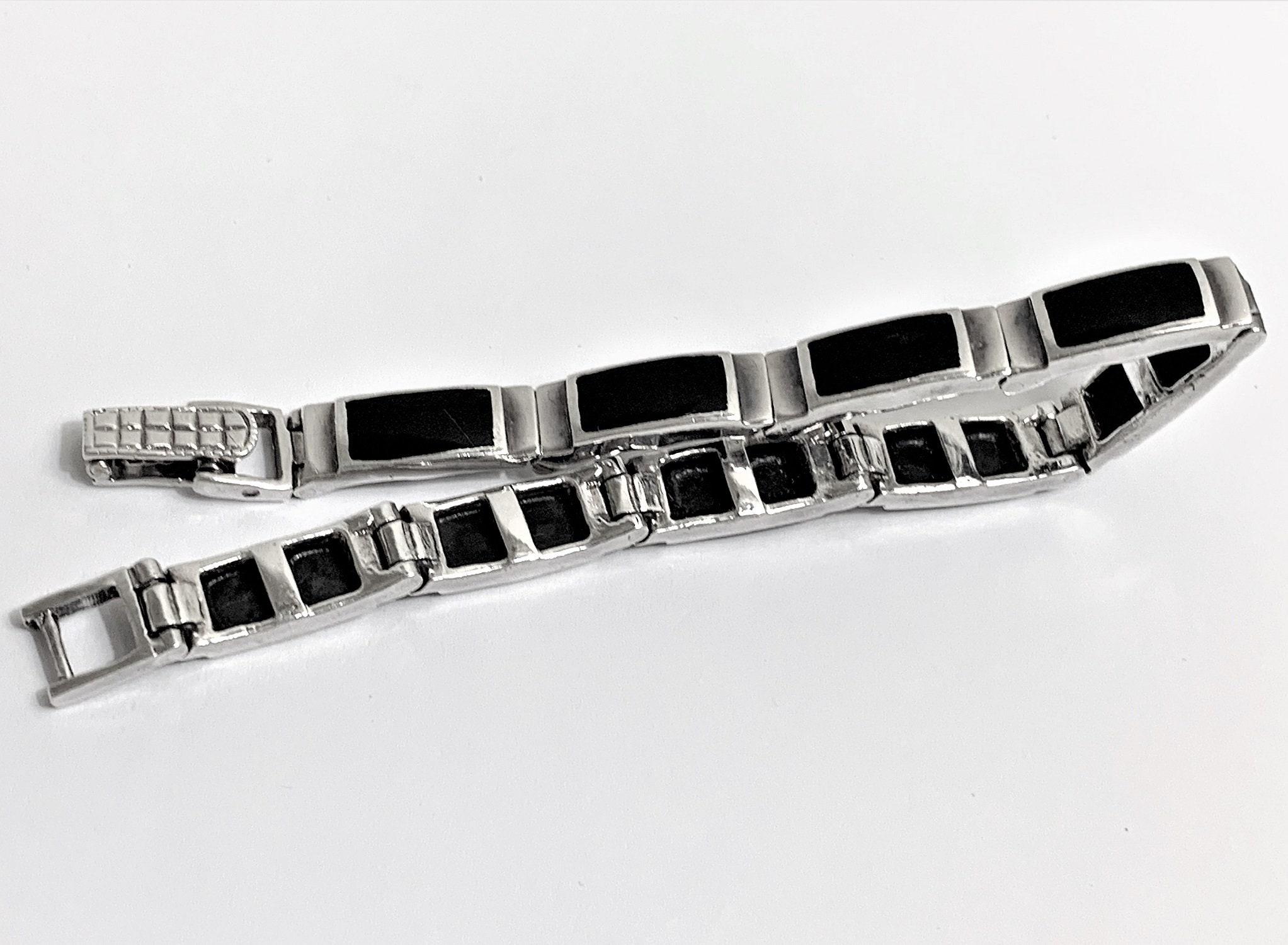 Elegant Sterling Silver Black Enamel Taxco TR 150 3 Rectangle 8mm Bracelet 8
