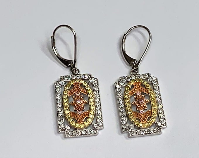 Sterling Silver with Yellow & Rose Gold Accents Dangle Earrings, Clear and Colored Full Facets CZ, Secure Lever Backs, Free US Shipping.