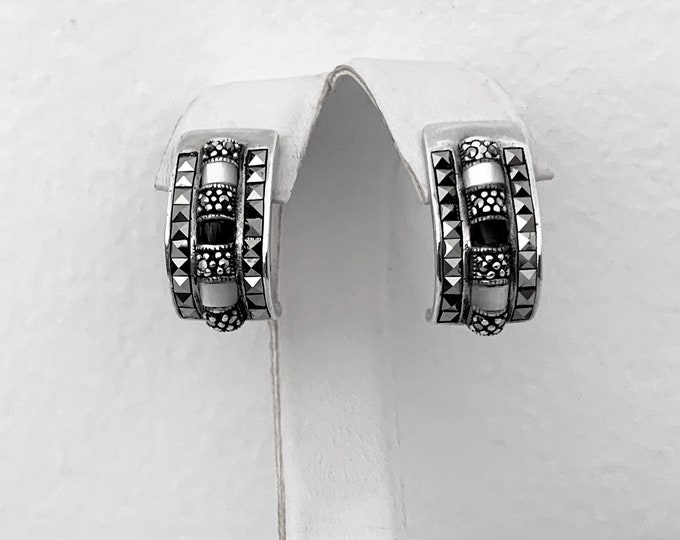 """VTG Sterling Silver Marcasite, Black Onyx and Mother of Pearl Curved Drop Earrings, 1"""" Drop, 14mm Wide. Refinished, Free US Shipping."""