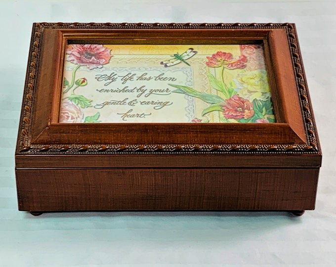 """Vintage Sankyo Japan Music Jewelry Memory Solid Wood Padded Box, """"You Light Up My Life"""",  8"""" W. 6"""" L, Mint Condition. Free US Shipping."""