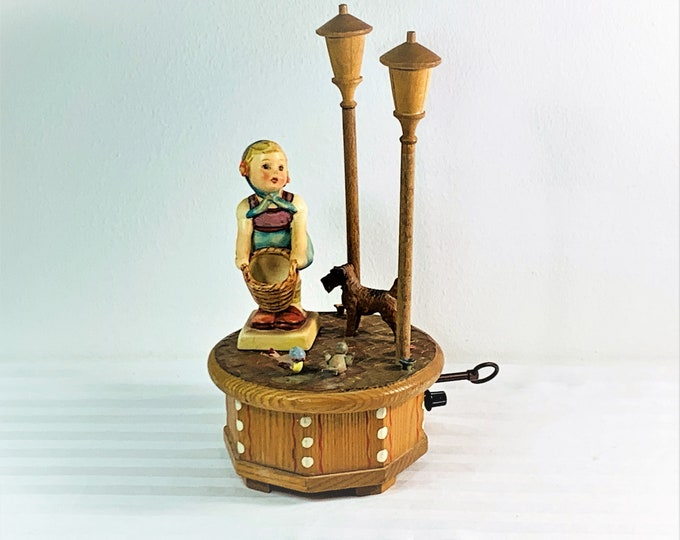 """Vintage 1950's Thorens Swiss Music Box """"I Could Have Danced All Night"""" , ANRI Italy Rotating Carved Wood Sculptures. 9.5"""" T. 5"""" D. Restored."""