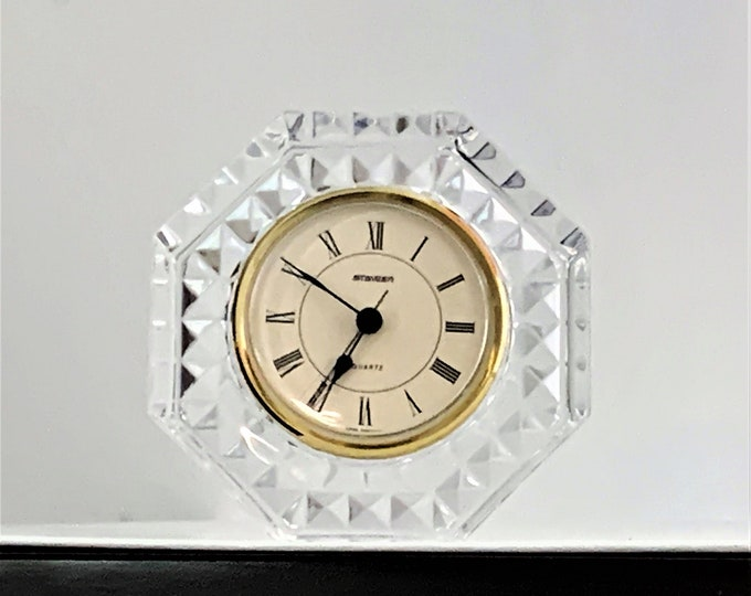 """Vintage Staiger West Germany – France Fine Crystal Clock, Hexagon Shape 4 1/2"""", 3"""" Dial, Very Sharp Clock."""