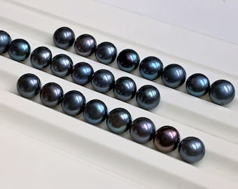24 Fine Quality Button Pearls, Biwa Fresh Water, Black with Purple Hue, 7 mm, Double Drilled, Amazing Luster