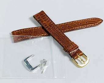 Vintage Tourbillon Italy Genuine Leather Watch Band, 14mm Lugs, Stitched Hypo-Allergenic Buckle, Heavy Duty, Lizard Grain Brown