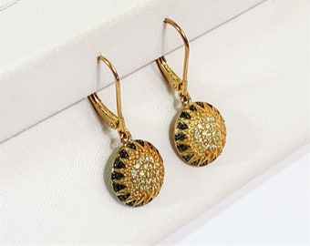 """Sterling Silver 18K Gold Vermeil Pave Faceted CZ Dangle Earrings, Blacked Edges, Lever Backs, 1"""" Drop, 1/2"""" Domed Circle. Luxurious."""