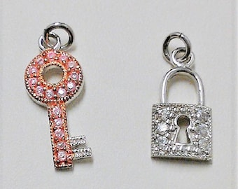 """Sterling Silver Set of 2 Charms, Lock and Key, Studded with brilliant Full Cut White CZ, 3/4"""" and 1"""", Rhodium and Rose Gold Overlay. Nice"""