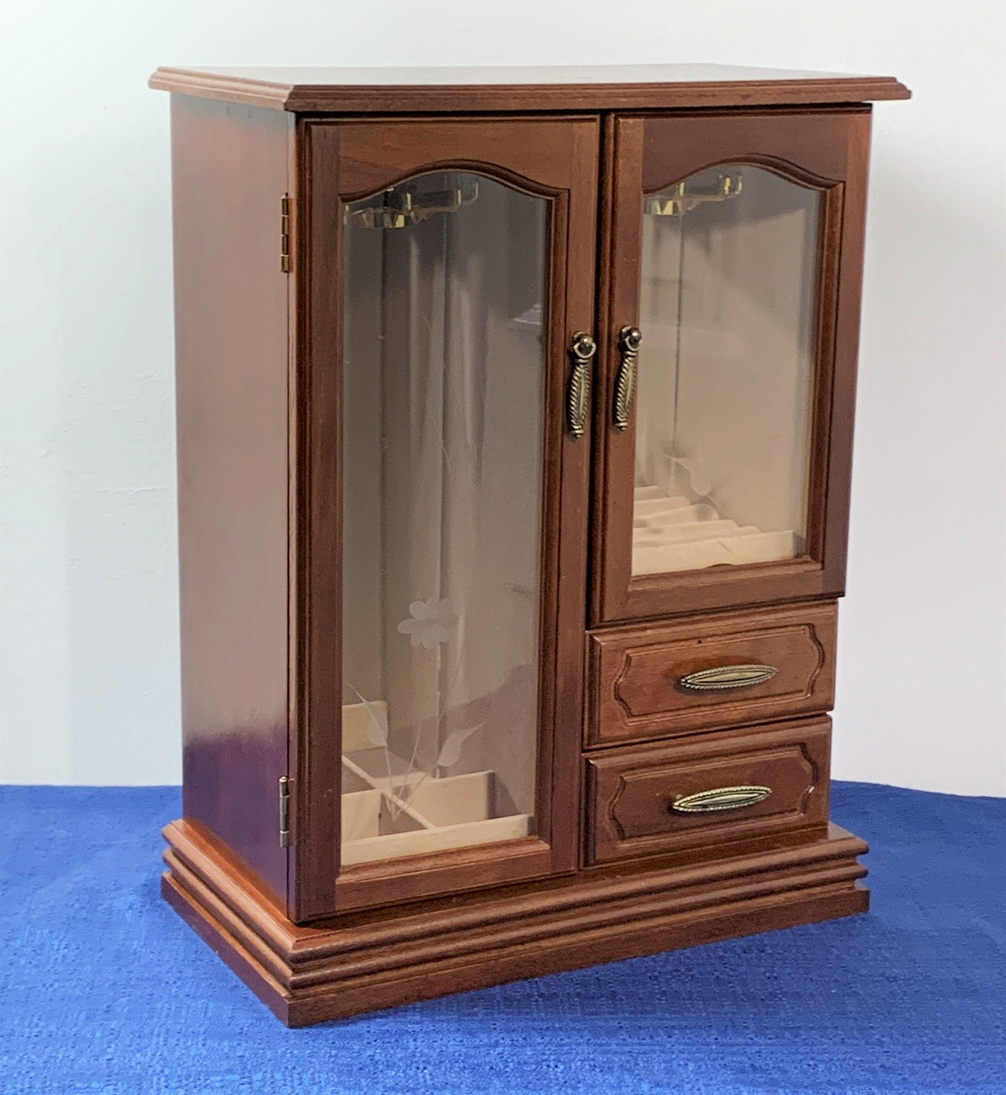 Vintage Large Solid Wood Jewelry Armoire Chest, 2 Doors W ...