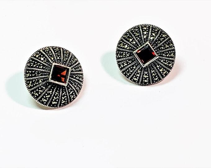 Judith Jack Large Sterling Silver Marcasite & Rhodolite Garnet Earrings, Omega Backs, 6mm Garnet, Domed 23mm Diameter, Free US Shipping.
