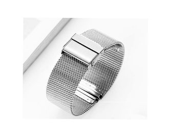 Vintage Stainless Steel Mesh Watch Band, Flex, 14 - 16 - 18 - 20 - 22 - 24  mm Lugs, Double Lock Clasp, Spring Pins Included, New Old Stock