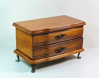 """Vintage Croft & Barrow® Wood Jewelry Box, Hinged lid W/Mirror, Padded Sections and Drawer, 4 Ornate Feet, 8.5"""" W. 5.25"""" H. Free US Shipping."""