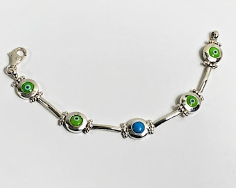 """Vintage Hand Made Sterling Green Eyes & Blue Turquoise Bracelet, Hinged Bars and Bezels, 19.10 Grams. 7.5"""" L, Large Lobster Claw Clasp, NICE"""
