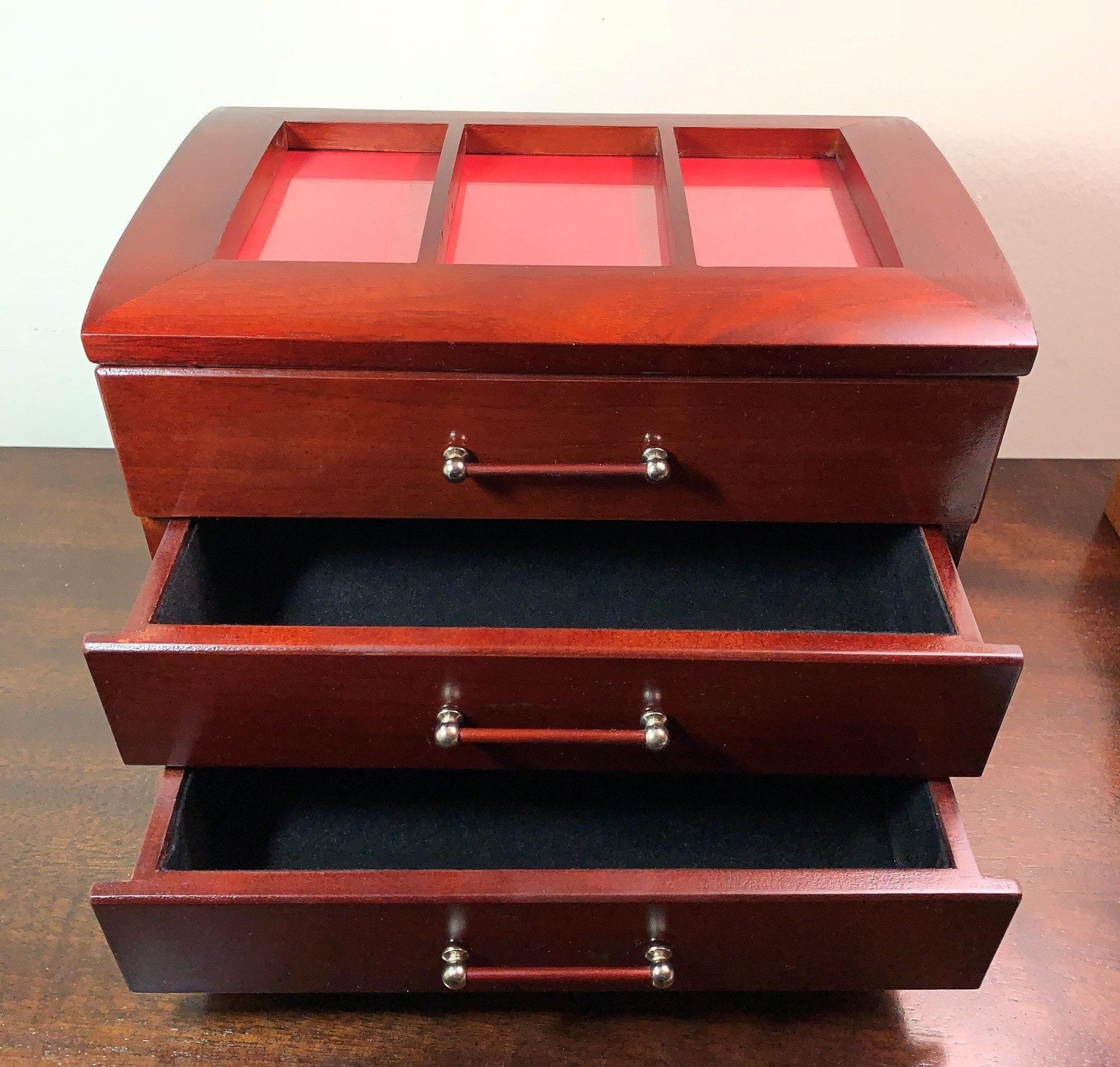 Vintage Solid Wood Jewelry Box - Storage, Glass Window Lid ...