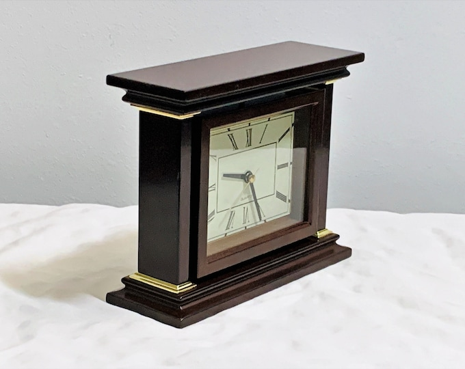 """Vintage Bombay Company Mahogany Wood & Brass Accessories Rotating Mantel Clock with Picture Frame. 8"""" W. 6.5"""" T. Mint. Free US Shipping."""