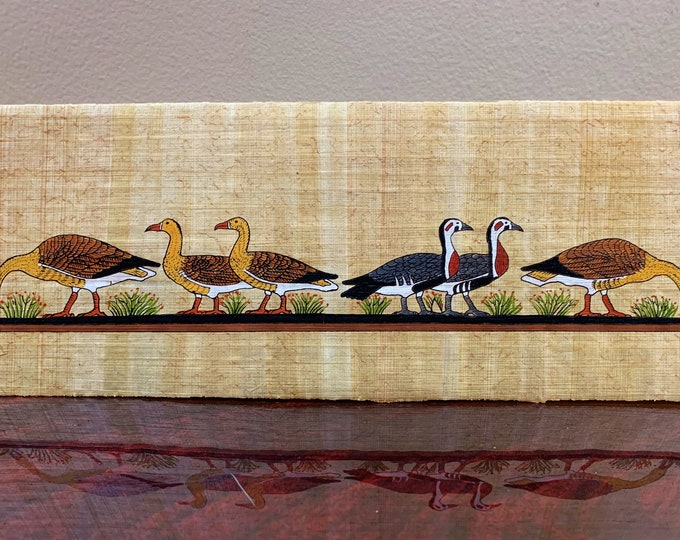 Vintage Hand Painted Egyptian Papyrus, The Famous Meidum Geese, 17 X 4 1/2 inch.  42 x 12 cm.