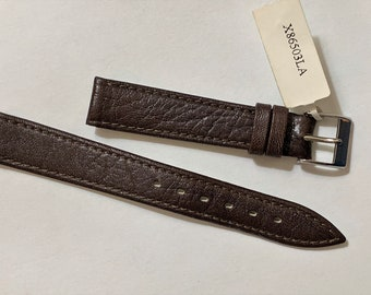 Vintage Tourbillon Italy Genuine Leather - Lama skin Watch Band, 16 mm Lugs, Padded Stitched Water Resistant, Heavy Duty, Dark Brown