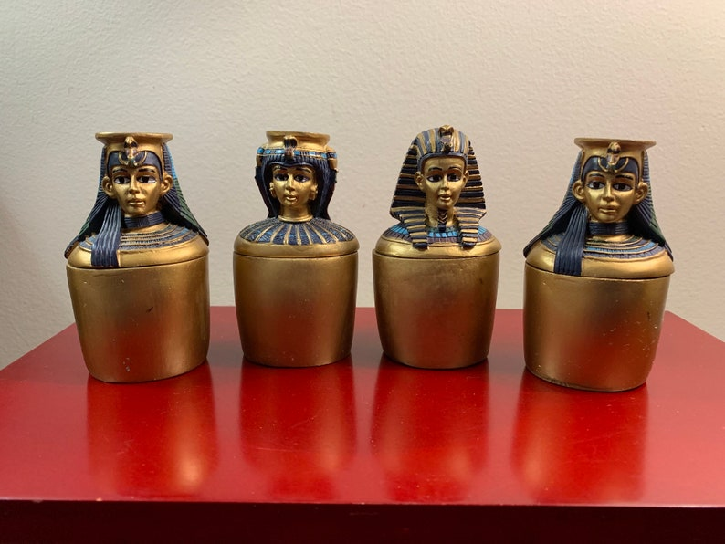 Vintage 4 Ancient Egyptian Canopic Jars Resin Hand Made And Painted Artists Version 4 Tall 2 Wide Good Condition