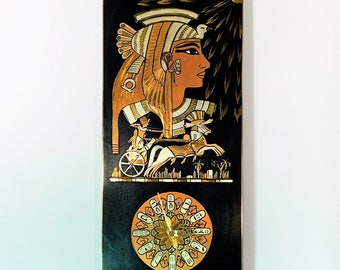 """Vintage Egyptian Motives Wall Clock, Engraved Gilded Metal, Wood Back, Beautiful Condition, Works, 15.5"""" T. 7.5"""" W. Free US Shipping."""