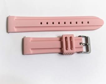 Smartwatch Rubber Sport Watch Band, Heavy Duty Flexible Water Resistant, Stainless Steel Heavy Buckle,  22 mm Lugs, Light Pink, Old Stock
