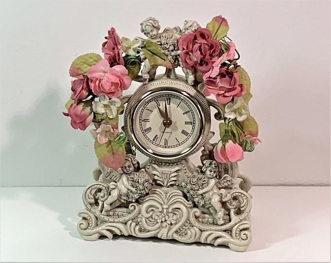 "Vintage Hand Crafted Italian Hard Mix Resin Cherub & Flowers Clock. 8"" T. 6"" W. Precision Quartz. Top Grade Condition. Free US Shipping."