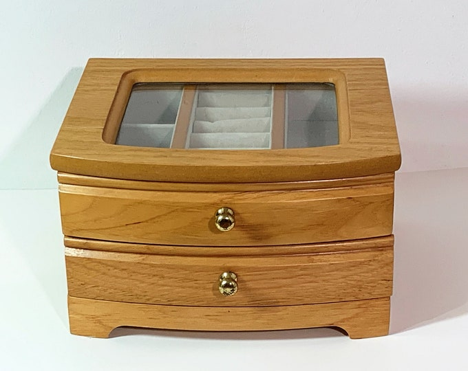 Solid Oak Jewelry Box, Beautiful Carved Wood, 2 Levels, Hinged lid, Glass Window, Rings Section, Padded Divided Drawer, Refinished & Cleaned