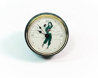 "Vintage Green Marble Gamecock Golfer Mantel Clock, USA Quartz Movement, 3"" Diameter, 3.5"" Long. Works Perfectly, Free US Shipping."