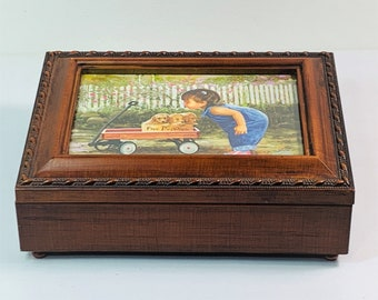 """Vintage Sankyo Japan Music Jewelry Memory Solid Wood Padded Box, """"You Are My Sunshine"""",  8"""" W. 6"""" L, Mint Condition. Free US Shipping."""