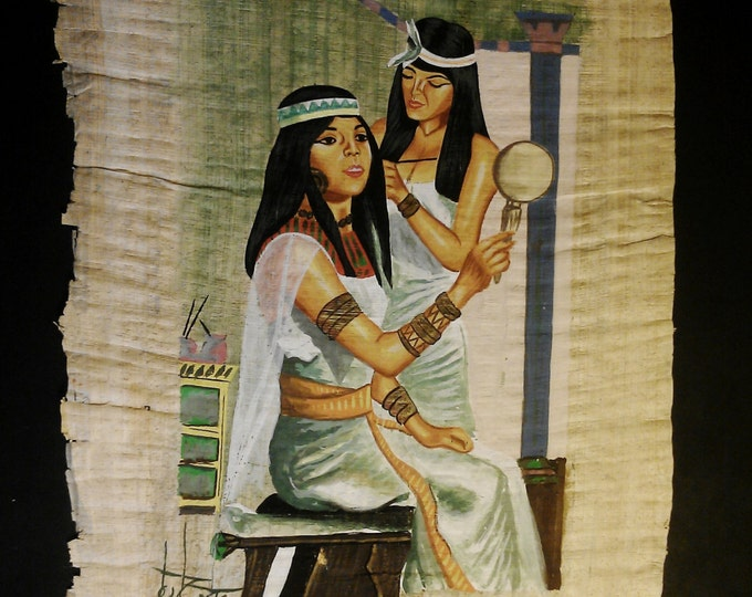 Vintage Hand Painted and Signed Egyptian Papyrus, Egyptian Daily Life, Pencil and Brush - Gouache,  15.50 X 11 inch. 40 X 30 cm