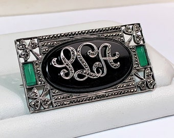 Vintage Sterling Silver Marcasite  Black Onyx, Green Chalcedony Initials Brooch, Irish Clovers Corners, Unique Old Piece, Ireland