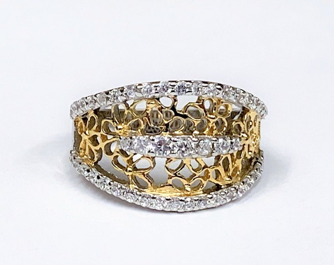 Sterling Silver Hand Made Open Scroll Ring, Gold Accents, Rhodium, Round Full Cut White CZ,  size 7