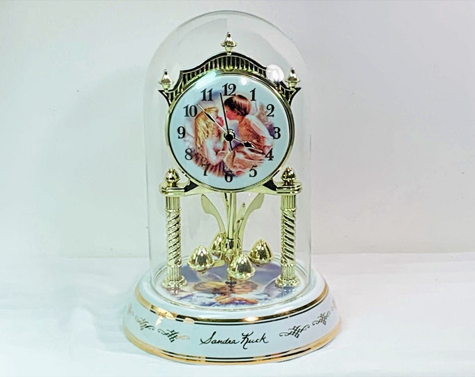 """Sandra Kuck Collection 2001 Angels' Anniversary Westminster Chime Clock, Geneva Clock Co. Porcelain Base & Dial, 9"""" T. 6"""" B. Mint Condition."""