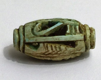 Vintage Ancient Egyptian Faience  Bead-Amulet, A Rare Amulet, Eye of Horus Amulet, Valley Of The Queens, Luxor - Egypt. 22 mm.