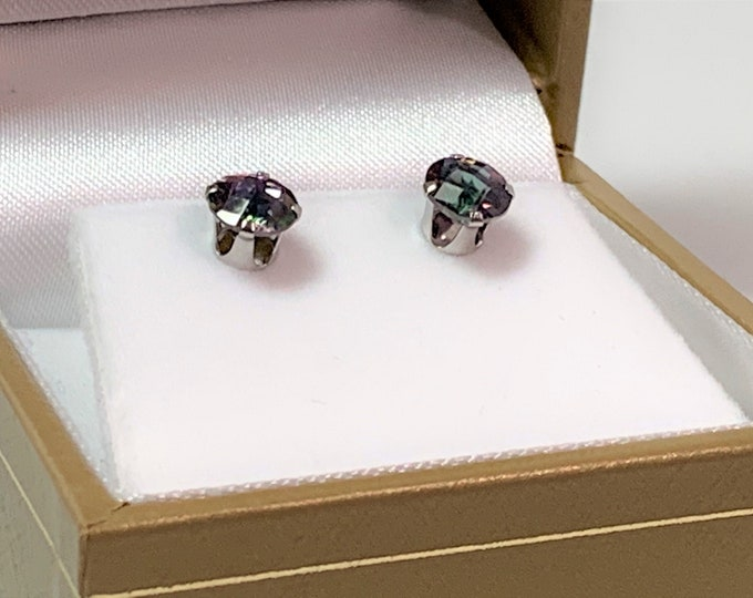 14k White Gold 6mm Round Mystic Topaz Stud Earrings, 1.97 Carats. Vibrant Mystic Colors.Natural Gemstone. Free US Shipping.