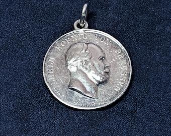 "Antique Late 1800s Wihelm Koenig Von Preussen Silver Medal Coin, ""The Best Shooter"" Award, Sterling Bezel Added, 22.60 Grams. 34mm Diameter."