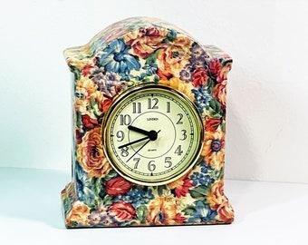 """Vintage Linden Rose Garden Porcelain Mantel Clock, Quartz Movement, 6"""" T. 5.25"""" W. 3"""" D. Mint Condition. Free US Shipping."""
