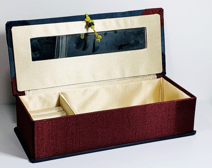 """Stylish Travel Jewelry Case, Solid and Firm, Polyester Fabric Casing, Padded Hinged Lid with Mirror, Rings Section, 11"""" W. 5"""" L. 3"""" H. Nice."""