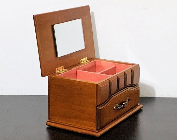 "Vintage Sankyo Japan Solid Wood Jewelry Box. Plays ""Love Me Tender"", Hinged Lid W/Mirror, Padded Sections & Drawer. 8"" W. 4.5"" H. Restored."