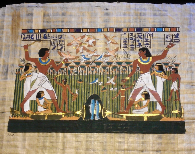 """Vintage Egyptian Hand Painted Papyrus Depicts """"Family Life Scene In Ancient Egypt"""", 17 x 13"""", 42 x 33 cm. Free US Shipping."""