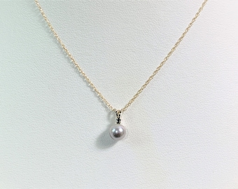 """14K Yellow Gold South See Round Pearl & Small Blue Sapphire Pendant, 14K Gold 20"""" Fine Chain, Platinum Tone 7 mm Pearl. Free US Shipping."""