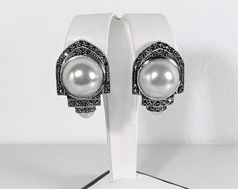 """Vintage Judith Jack Sterling Silver Maecasite & Domed Pearl Shell Drop Earrings, 1.5"""" L. 1"""" W. 20 mm Pearls, Omega Backs. Free US Shipping."""