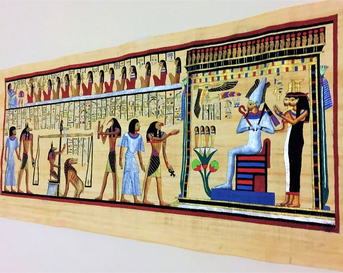 """The Judgment Scene, Hand Painted on Papyrus, From The Papyrus Scroll of Hunefer, Super Large Papyrus 6ft 2"""" X 2ft 2 1/4"""" - 188 X 67 cm"""
