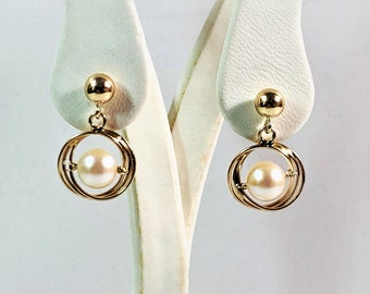 """14K Yellow Gold Akoya Cultured Pearls Dangle Earrings, 6.5mm White with Rosey Overtone, 3.10 Grams, 3/4"""" Long. 1/2"""" Wide, Free US Shipping."""