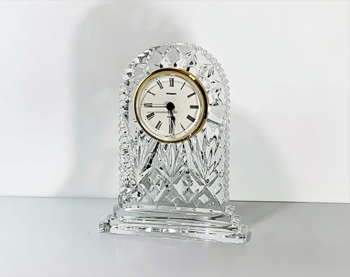 """Vintage Staiger Germany & Fine Croatian Hand Cut Large Crystal Mantel Clock, 7"""" T. 5.25"""" W. Excellent Condition, Tested. Free US Shipping."""