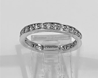 Eternity Band, Sterling Silver with Rhodium, Channel Set Round Brilliant CZ, 1 carat Total Weight, Size 5 1/2. Beautiful