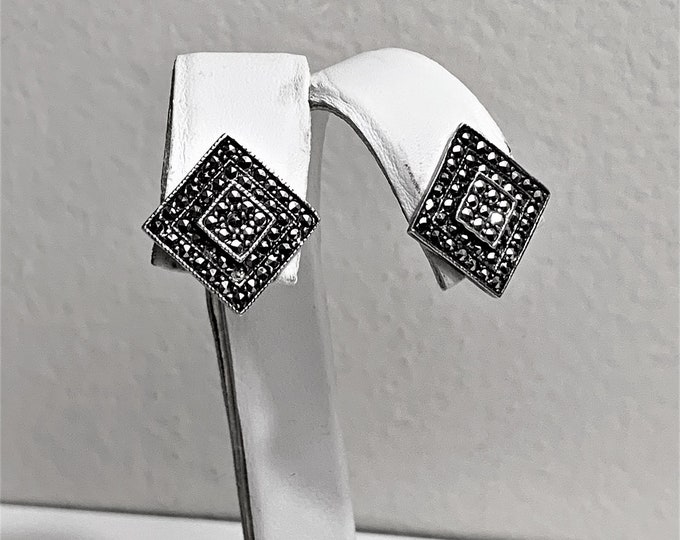 """Vintage Sterling Silver Marcasite Earrings, Square Shape Studed with Marcasite stone, 1/2"""" - 13 mm. Refinished, Free US Shipping."""
