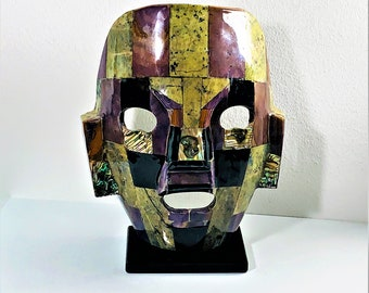"""Mayan Aztec Inca Gemstone Burial Death Face Mask on Stand, Jade - Abalone - Onyx - Obsidian Etc. 9"""" T. 7"""" W. Guatemala. Free US Shipping."""