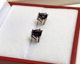 14K White Gold Amethyst Earrings, Deep Purple Trillaint Cut 5 mm, .80 Carat. Solid Setting and Backs
