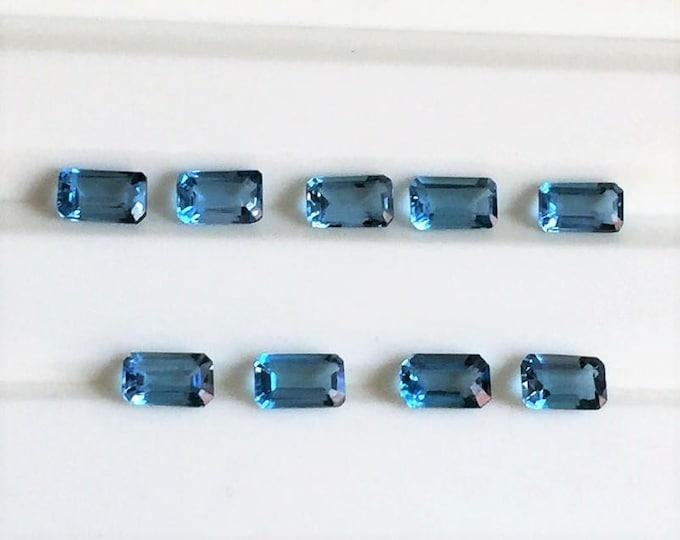 Lot of 9 Fine London Blue Topaz, Emerald Cut 5X3 mm, Excellent Match, 2.91 carats Total Weight